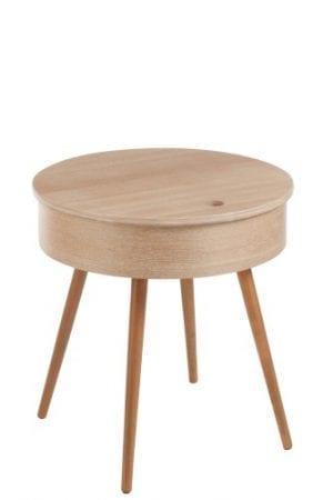 Puuviilu beige pyöreä sivupöytä laatikollinen J-Line Round