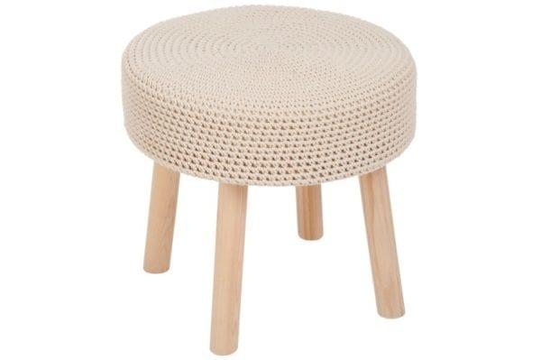 Virkatulla päällisellä beige sivupöytä J-Line Crochet