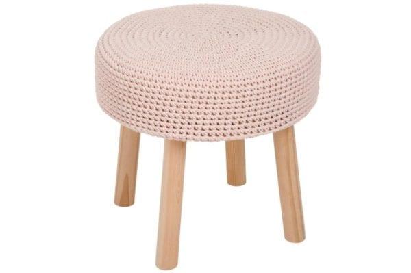 Virkatulla päällisellä vaaleanpunainen sivupöytä J-Line Crochet