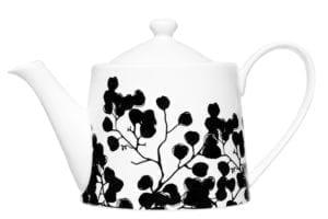 Mustavalkoinen teekannu kukkakuvio Tilavuus 1,2l Maku