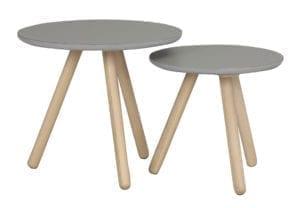 Rowico Hovden pyöreä sivupöytä puinen harmaa pikkupöytä